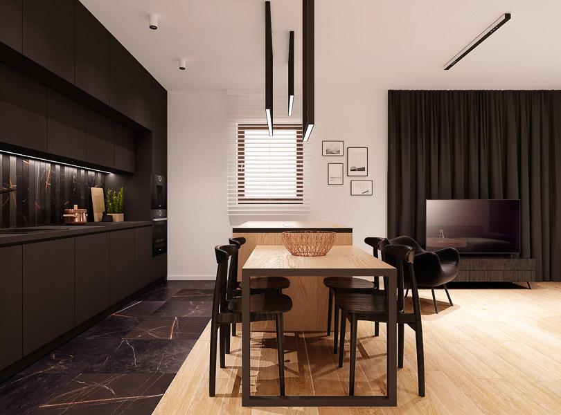 Wyspa kuchenna drewniana połączona ze stołem. Płytki czarny marmur z rdzawą żyłką.